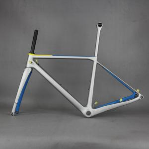 Disc road carbon frame . bicycle frameset include carbon fork carbon seatpost silver color