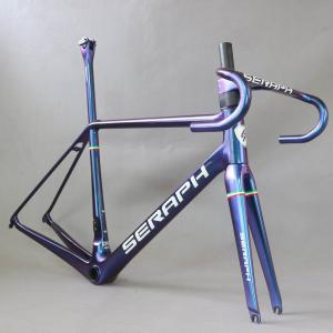 2022 FM629 v brake frame SERAPH new all inner cable road carbon frame bicycle frameset chameleon color